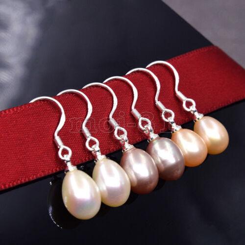 7-8mm Natural Akoya Freshwater Pearl 925 Sterling Silver Dangle Earrings