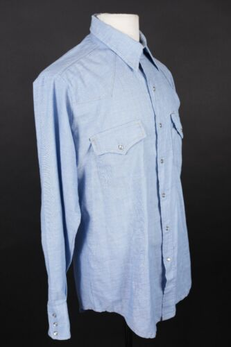 Vintage 70s SEARS WESTERN Chambray Cowboy Shirt US