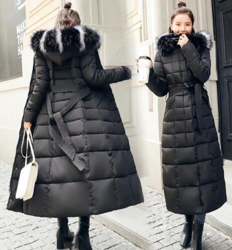 Knæ Over Slim Outwear Fur Padded Bælte Hoodie Coat Kvinders Long Faux Parka FwXOqOznU