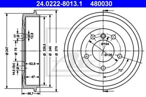 2x Bremstrommel für Bremsanlage Hinterachse ATE 24.0222-8013.1