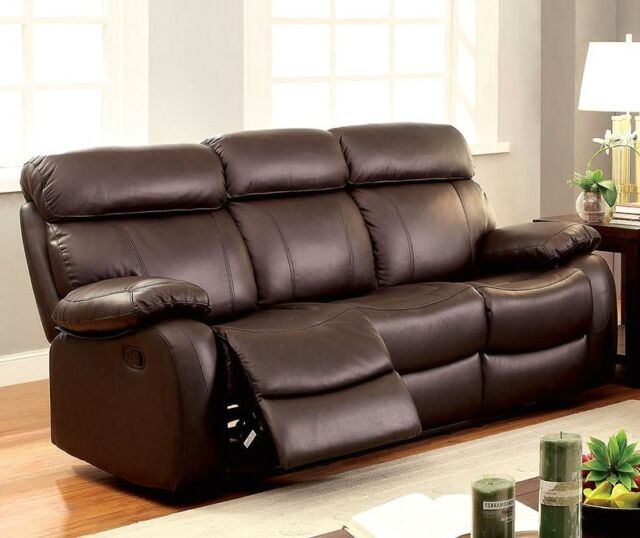 New Lyndon Casual Brown Dual Reclining Motion Sofa In Top Grain Genuine  Leather