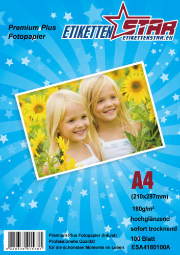 GLOSSY Inkjet Photo Paper 180 230 GSM from EtikettenStar 100 Sheets A4 GLOSS