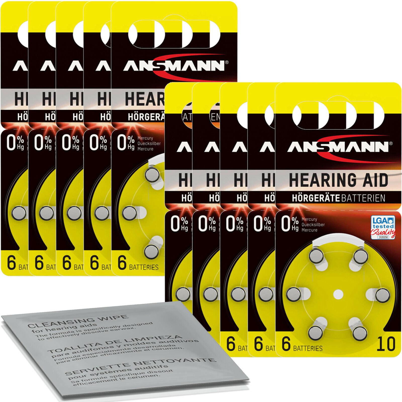60x Ansmann Batteries Yellow PR70 10 (10x 6er Blister) + Cleaning Cloth