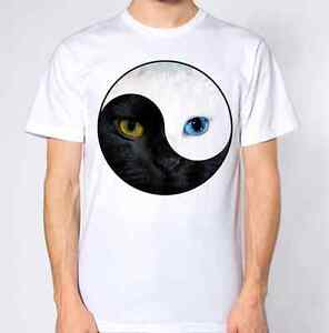 Ying Yang T Shirt Hipster Tumblr Hippie Hippy Retro Design Cat