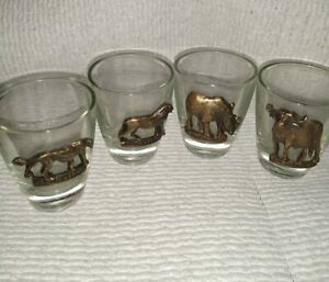 Shot-Glasses-with-South-African-Brass-Animals-set-of-4-1oz-each