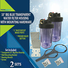 """2 Transparent Big Blue Housings 10"""" for Whole House Water Filtration System."""