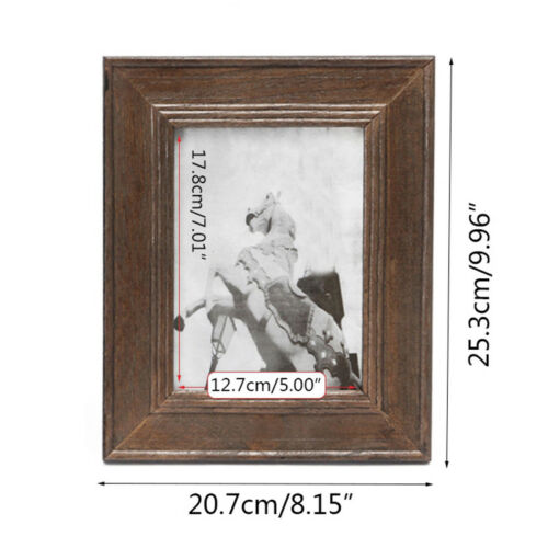 Wood Photo Frame Vintage Picture Holder Photograph Display Stand Decor Rectangle