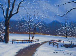 Original Acrylic Painting of Snowy Path 12x16 Landscape by Timothy Stanford