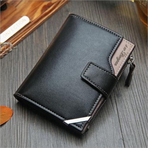 Men Trifold Multi-function Wallet SIM Card Slot Credit Card Holder Snap Closure
