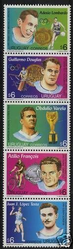 Sportsmen URUGUAY soccer 1950 WC rowing cycling basketball #1698 MNH STAMP CV$10