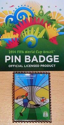 Pin + Plakat Motiv 3 + 2014 FIFA World Cup Brazil + 3,0x2,5 cm + OVP Lizenz #15