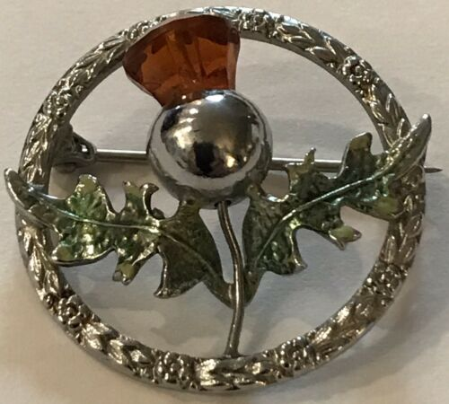 bird foot and citrine antique hunting brooch in silver from England