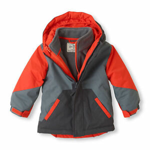a2b97123bacd The Children s Place Boy s Orange and Gray Printed 3-IN-1 Jacket ...