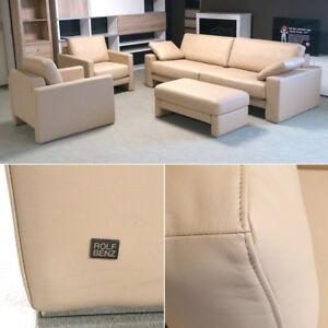 ROLF-BENZ-Polstermoebel-EGO-3-sitzer-Sofa-2-Sessel-1-Hocker-Echtleder-beige