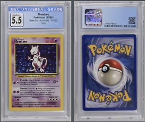 Pokémon Mewtwo Holo 10/102 CGC 5.5 Excellent+ 1999 Base Set Unlimited