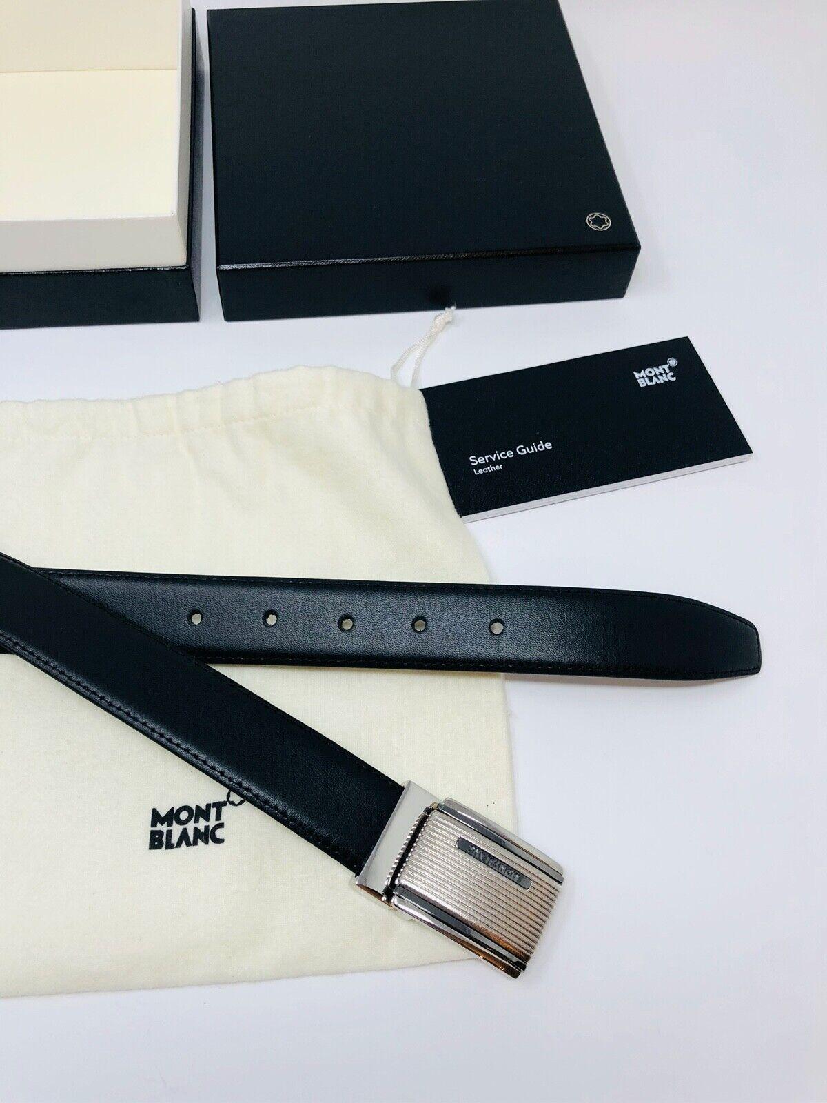 MONTBLANC *MST* Leder Riemen + Gürtel 125 x 3 cm Belts schwarz NP:395 -1720