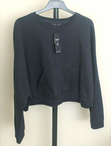 M/&S Limited Edition Size 16 Cotton Rich Batwing Sleeve Short Sweatshirt Top Navy
