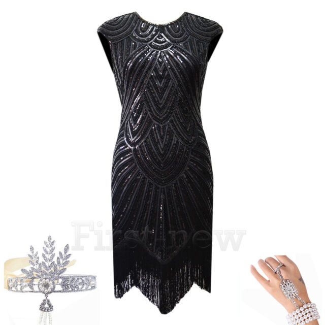 1920's Dress Flapper Vintage Great Gatsby Charleston Sequin Fringe Party Costume