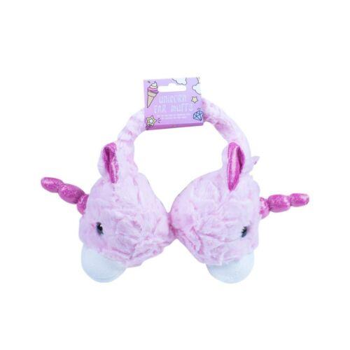 Pink Fluffy Unicorn Earmuffs Kids Adults Adjustable Ear Muffs Winter Warmer Gift