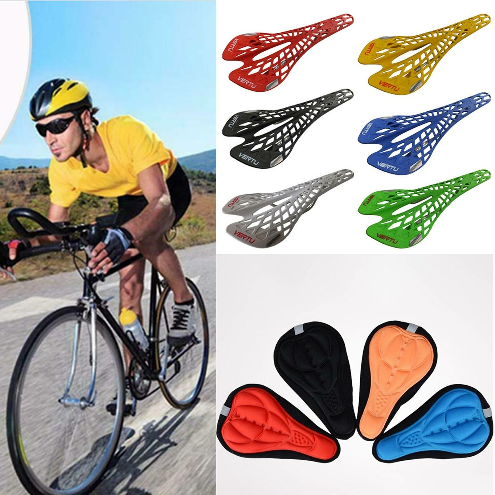 3D Silicone Gel Thick Soft Bicycle Bike Cycling Saddle Pad Cushion Seat NW G5T8