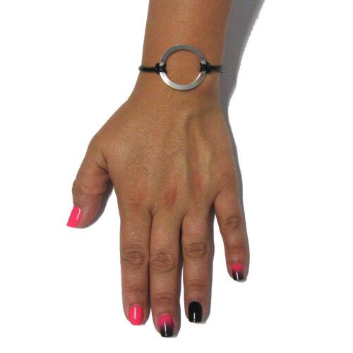 Sterling Silber Armband solid 925 Kreis mit Leder B000197  EMPRESS
