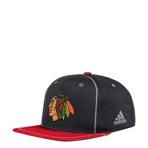 d5bd57d3cb8440 Men's Chicago Blackhawks NHL adidas Black/Red Bravo Adjustable ...