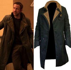 6291195e6fc Men's Ryan Goshling Blade Runner 2049 Long Black Cotton Fur Trench ...