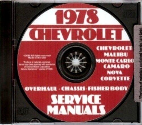 CHEVROLET 1978 Impala Caprice Monte Carlo /& Corvette Shop Manual CD