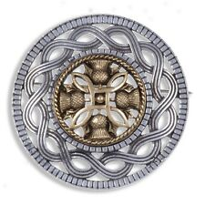 Miracle Pewter Gold Plated Thistle Celtic Knotwork Round Brooch UK Made