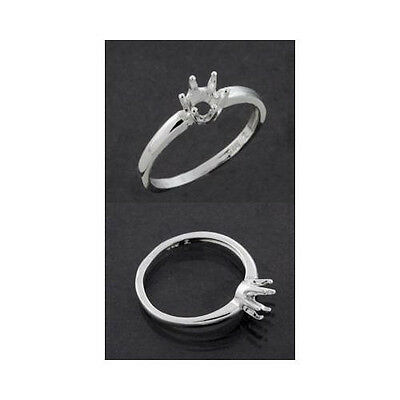 (4mm - 6mm) Round 6-Prong Sterling .925  Ring Setting (Ring Size 5,6,7, 8 )