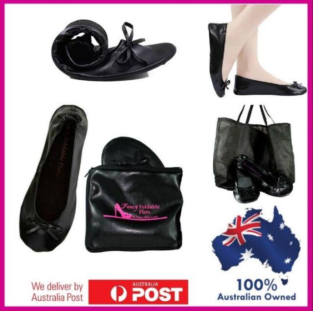 Foldable ballet flats plus Expandable BAG 4 heels size 6 - 12 folding shoe Black