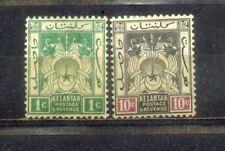 Malaya Malaysia 1921 Kelantan 1c & 10c Wmk Mult.Script CA. MH CV Rm 32