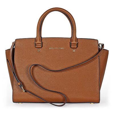 Michael Kors Selma Saffiano Leather Satchel Handbag in Luggage - Tan