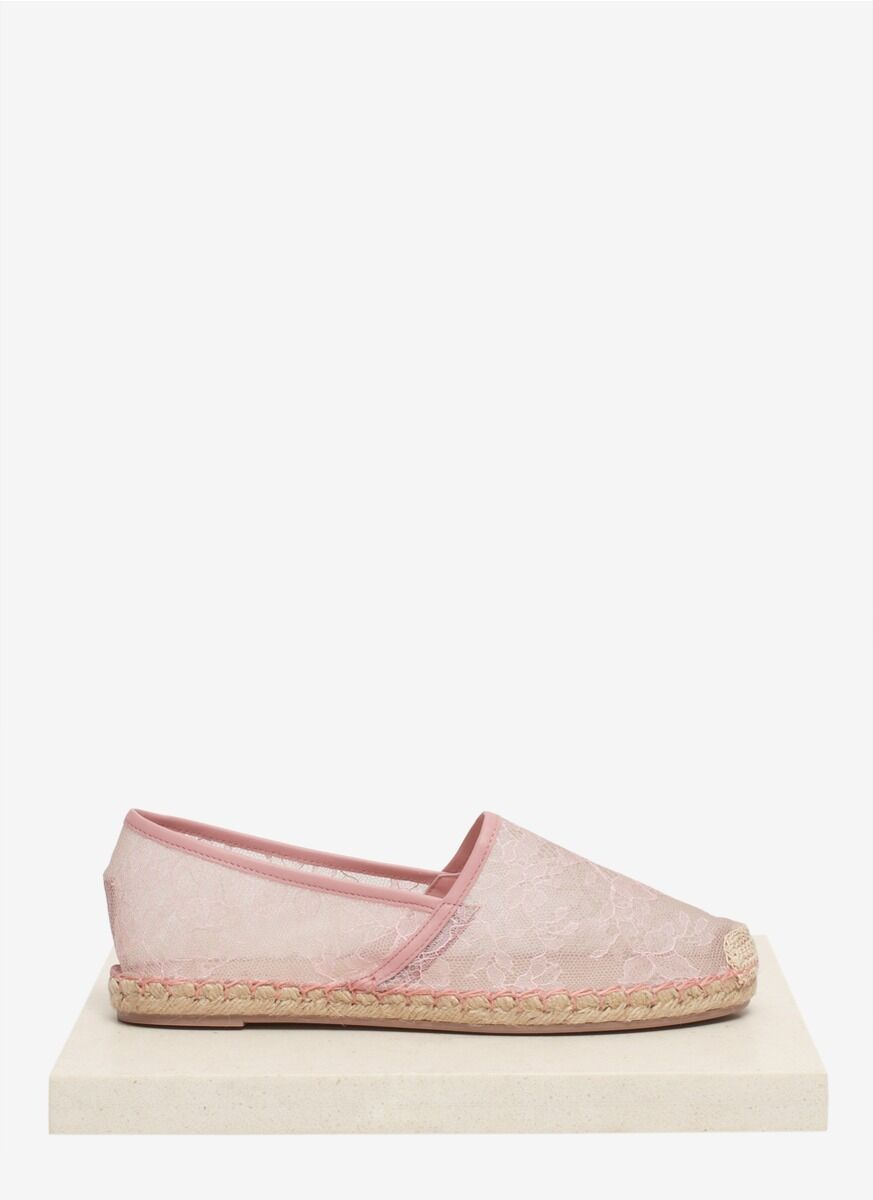 Valentino rose Chantilly Lace Mesh Espadrilles Chaussures Plates Taille 40