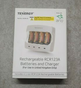 Arlo RCR123A Tenergy 4 Rechargeable Li-ion Batteries and Charger