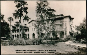 WINTER-PARK-FL-Mayflower-Pugsley-Womens-Hall-Rollins-College-Vtg-RPPC-Postcard