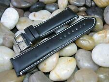 24mm Hadley Roma MS885 Oil Tanned Black Leather Contrast Stitch Watch Band strap