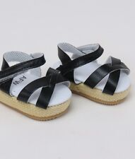 "Doll Clothes AG 18"" Sandals Wedge Black Made For American Girl Dolls"
