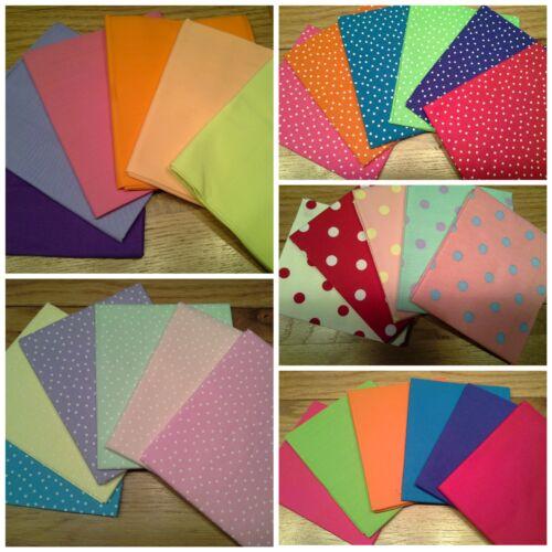 100/% Cotton Fabric Fat Quarters Bundles Sew Craft Quilting Spots Plain Canvas
