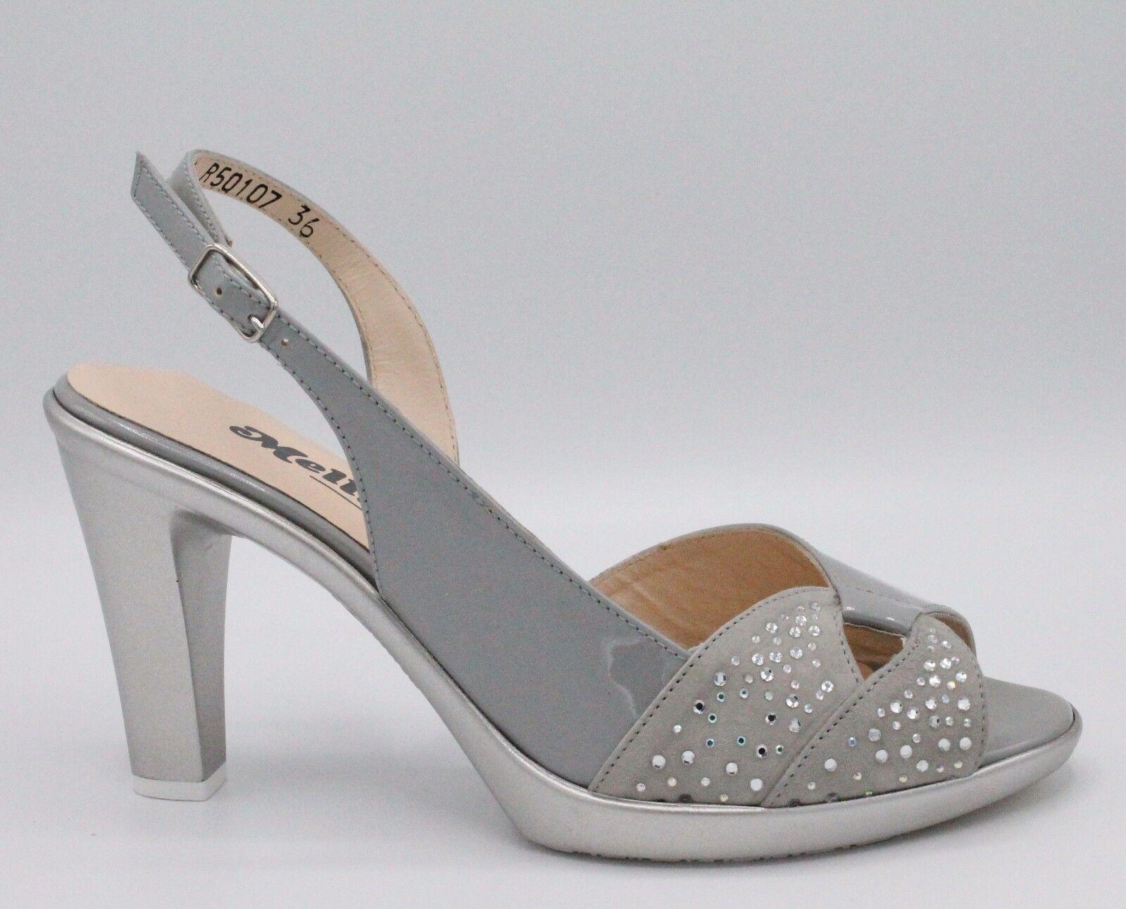 MELLUSO Sandali donna eleganti in pelle vernice argentoo strass tacco 8cm R50107