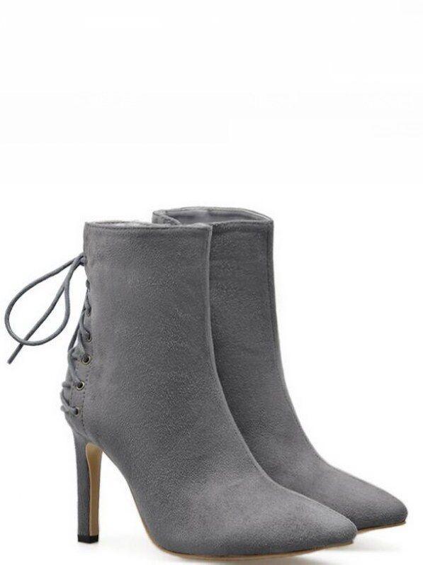 botas gris perla élégant tacón de aguja 9.5 9.5 9.5 perno como piel 8671  tiempo libre