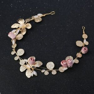 Golden-Pink-Flower-Bud-Bridal-Tiara-Crown-Head-Piece-Headband-Wedding-Jewelry