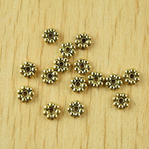 100pcs Dark Gold-Tone Daisy Flower Spacer Beads h1991