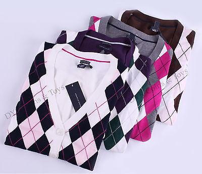 Tommy Hilfiger Women Argyle Cardigan Long Sleeve Sweater - Free $0 Shipping