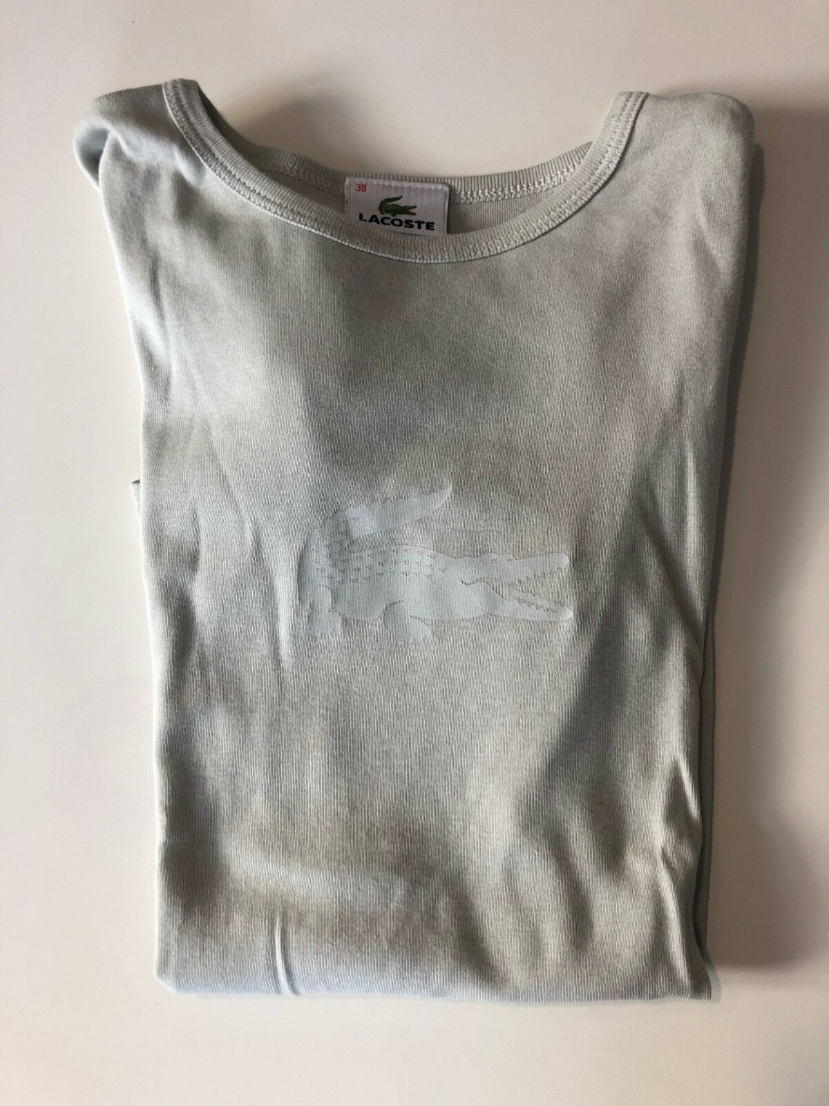 LACOSTE Kurzarm Shirt, Gr. 38, helles graugrün