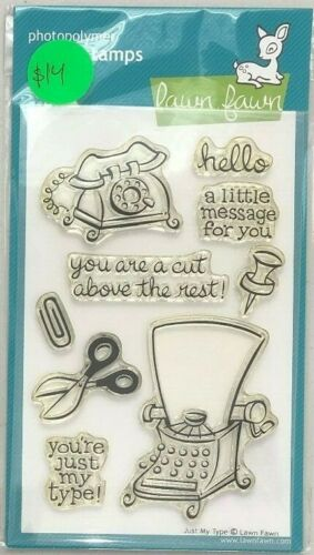 Lawn Fawn Photopolymer clear stamps JUST MY TYPE Typerwriter Phone Card making