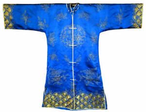 Antique-Chinese-Silk-Embroidery-Robe-Silver-Blue-Embroidered-Vintage-Fine-Coat