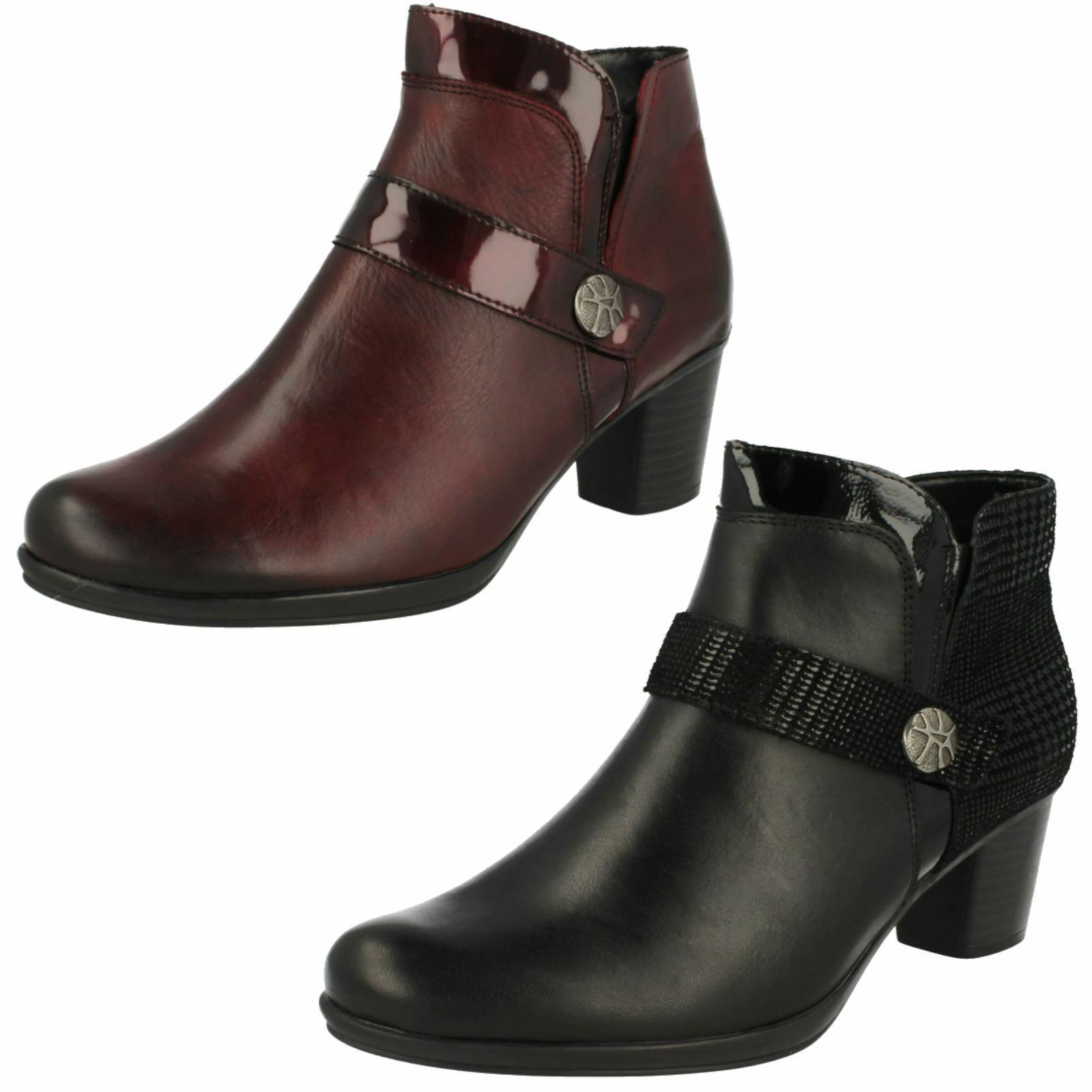 Damen Remonte R1571 Rot oder Schwarz Leder Smart Stiefeletten mit Reißverschluss    | Lebendige Form