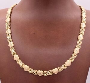 Hearts-amp-Kisses-Diamond-Cut-Stampato-Necklace-14K-Yellow-Gold-Clad-Silver-925