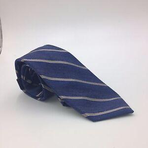 $95 CLUB ROOM Men WHITE NAVY BLUE STRIPED NECK TIE CASUAL DRESS NECKTIE 59x3.25